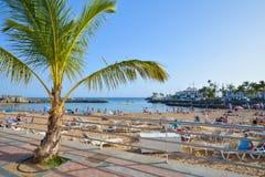 PUERTO DE MOGAN,大加那利岛,西班牙- 2017年3月10日:海滩Puerto de Mogan在大加那利岛西班牙 免版税图库摄影