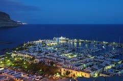 Puerto DE Mogan bij nacht royalty-vrije stock foto's
