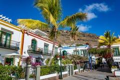 Puerto de Mogan, en härlig romantisk stad på Gran Canaria, Spanien Fotografering för Bildbyråer