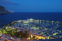 Puerto de Mogan at night Royalty Free Stock Photos