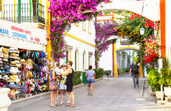 Puerto de Mogan, Spain – January 23, 2016: People are in the luxury resort Puerto de Mogan. Gran Canaria, Canary islands, Spain. Royalty Free Stock Image