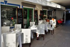 Puerto DE Mogan straatkoffie, Spanje royalty-vrije stock foto's