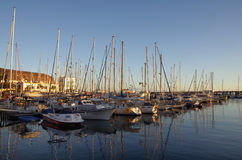 Puerto de Mogan on sunset royalty free stock image