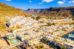 Puerto de Mogan town on the coast of Gran Canaria island stock images
