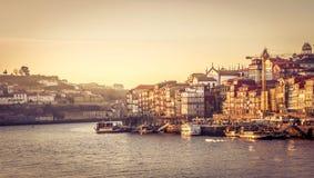 Puerto de Oporto de la tarde Fotos de archivo libres de regalías