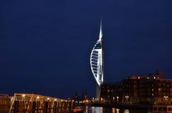 Puerto de Portsmouth por noche Foto de archivo libre de regalías
