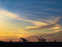 Puerto de puesta del sol de Oakland foto de archivo libre de regalías