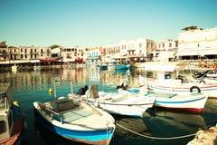 Puerto de Rethymnon Centro de ciudad Grecia, Crete fotografía de archivo libre de regalías