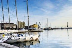 Puerto de Rijeka en enero imagenes de archivo