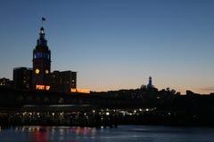 Puerto de San Francisco en la puesta del sol Fotografía de archivo
