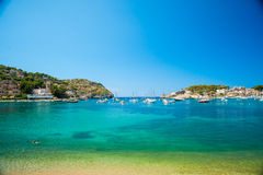 Puerto de Soller, Port of Mallorca island. In balearic islands, Spain. Beautiful picture of boats in clear blue water of bright summer day Stock Image