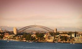 Puerto de Sydney en la oscuridad Foto de archivo libre de regalías