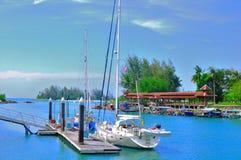 Puerto de Telaga y muelle del barco de Perdana Imágenes de archivo libres de regalías