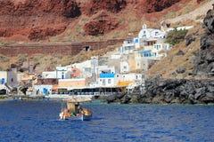Puerto de Thirassia, Santorini, Grecia imagen de archivo libre de regalías