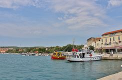 Puerto del barco en Krk Fotografía de archivo libre de regalías