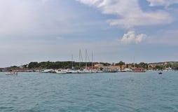 Puerto del barco en Krk Imagen de archivo libre de regalías