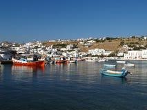 Puerto del barco en la isla de Mykonos Fotografía de archivo libre de regalías