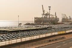 Puerto del cargo, transporte del coche, Eilat, Israel foto de archivo