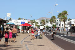 Puerto del  Carmen; Lanzarote High St; or, Main Road Royalty Free Stock Photos