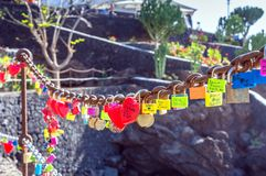 Love locks in Puerto del Carmen boardwalk, Lanzarote Royalty Free Stock Images
