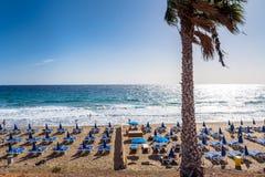 Boardwalk and beach in Puerto del Carmen, Lanzarote, Spain Royalty Free Stock Photography