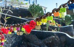 Love locks in Puerto del Carmen boardwalk, Lanzarote Royalty Free Stock Photography