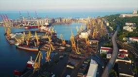 Puerto del comercio del infante de marina de Odessa metrajes