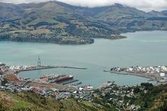 Puerto del Port Hills, Nueva Zelanda de Lyttelton imagen de archivo