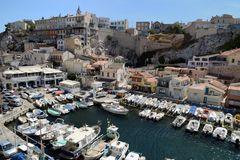 Puerto del valle de Auffes en Marsella, Francia fotografía de archivo
