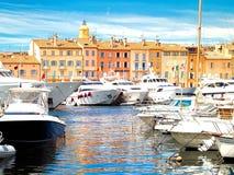 Puerto del yate de St Tropez, Francia Imagen de archivo