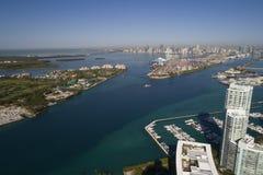 Puerto deportivo aéreo de Miami Beach de la imagen y vista del puerto Miami Foto de archivo