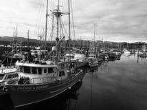 Puerto deportivo blanco y negro foto de archivo libre de regalías