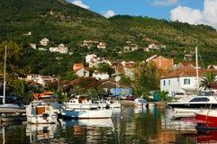 Puerto deportivo colorido del bote pequeño de Oporto Montenegro Imágenes de archivo libres de regalías
