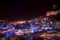 Puerto deportivo de Gibraltar en la noche Imágenes de archivo libres de regalías