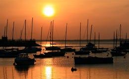 Puerto deportivo de Howt en la puesta del sol Fotos de archivo libres de regalías