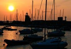 Puerto deportivo de Howt en la puesta del sol Imagen de archivo libre de regalías