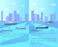 Puerto deportivo de la ciudad y ejemplo urbano del vector de la costa stock de ilustración