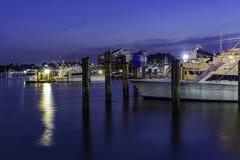 Puerto deportivo de la noche Fotografía de archivo libre de regalías