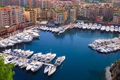 Puerto deportivo de Monte Carlo en Mónaco Fotografía de archivo libre de regalías