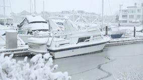 Puerto deportivo de Steveston, nieve del invierno metrajes