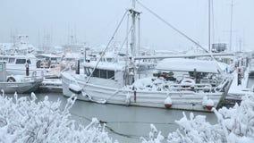 Puerto deportivo de Steveston, nieve fresca almacen de metraje de vídeo