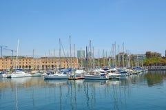 Puerto deportivo en el puerto Vell el 13 de abril de 2009 en Barcelona Imagen de archivo