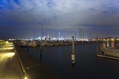Puerto deportivo en la noche Foto de archivo libre de regalías