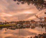 Puerto deportivo en la puesta del sol, Fotos de archivo