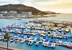 Puerto deportivo en Puerto Rico de Gran Canaria Imagenes de archivo