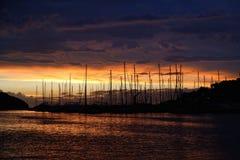 Puerto deportivo en puesta del sol Fotografía de archivo libre de regalías