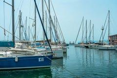 Puerto deportivo italiano con el velero y los pájaros foto de archivo
