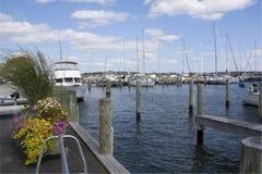 Puerto deportivo místico del velero y del yate de Connecticut fotos de archivo libres de regalías