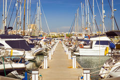 Puerto deportivo Marina Salinas. Yachts and boats in Marina of T Stock Photos