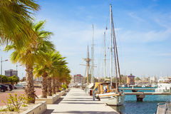 Puerto deportivo Marina Salinas. Yachts and boats in Marina Royalty Free Stock Photography